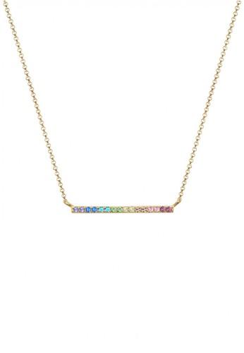 Elli Germany gold Perhiasan Wanita Perak Asli - Silver Kalung Geo Rainbow Crystal Gold Plated EL948AC0V85WID_1