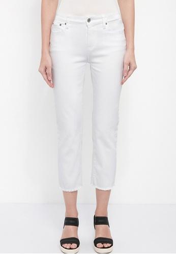 Dkny white DKNY Women Tri-Blend Slim Straight Crop Jeans. A00AEAA1A15F60GS_1