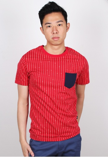 Moley red Stripe with Mini Arrows Print Pocket T-Shirt MO329AA63JWQSG_1