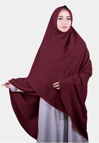 COTTON BEE red Khimar Celine Pet Hijab Syari Jilbab Jumbo Kerudung Muslim - Red Maroon E5EB1AAD632575GS_1