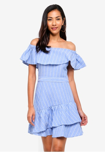 WAREHOUSE blue Frill Bardot Mini Dress 745F2AA9498902GS_1