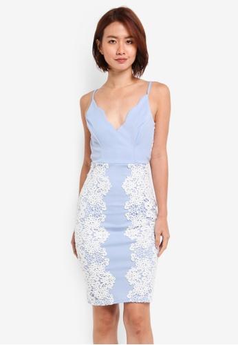 Lipsy blue WS Lace Bodycon Dress A2F40AA1EFB8DFGS_1