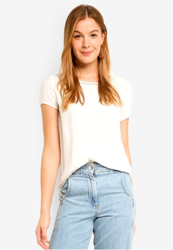 Vero Moda white Bella Boca Short Sleeve Top 4F947AAD32ABF3GS_1