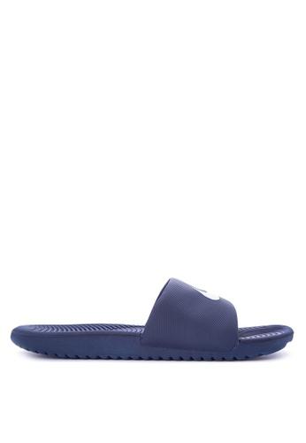 Nike white and navy Men's Nike Kawa Slide Sandals NI126SH0STS7MY_1