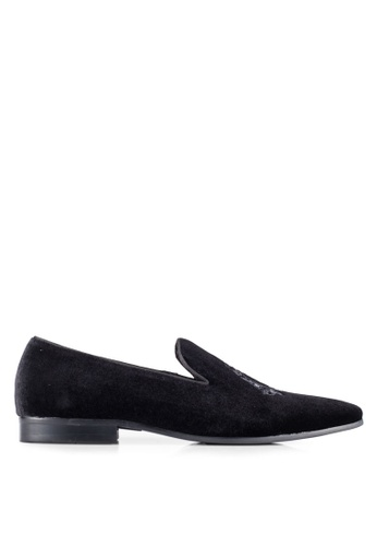 Dune London black Embroidered Crest Loafers DU588SH0RQNKMY_1