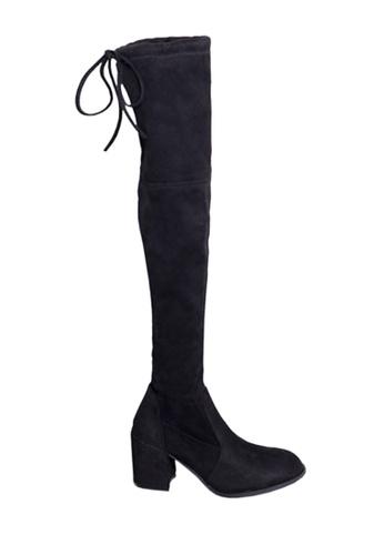 Twenty Eight Shoes 黑色 VANSA 7.5cm 羊絨腳形線條矮跟過膝靴 VSW-B1885 1F92DSH81EE323GS_1