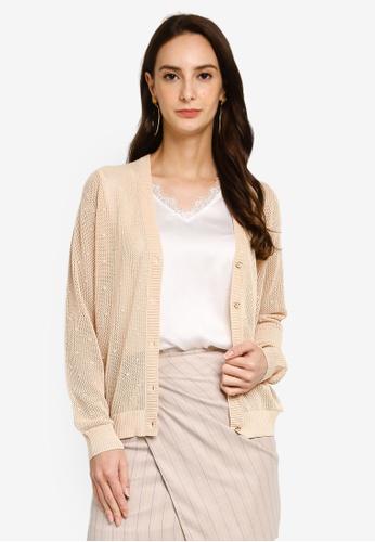Hopeshow brown V-Neck Button Long Sleeve Cardigan 3DC89AAF8ED44DGS_1