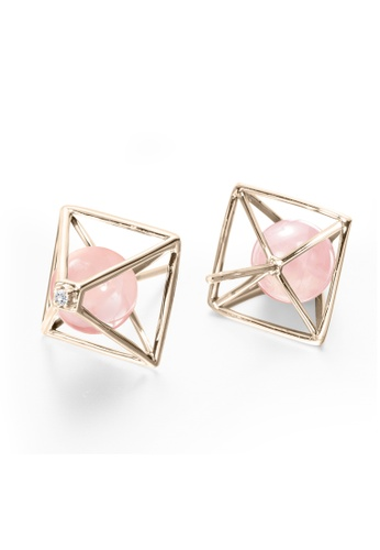 f04545733 Majade Jewelry pink and gold Rose Quartz Stud Earrings In 14k Gold With  Diamonds, Pyramid