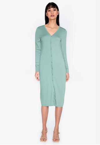 ZALORA BASICS green Jersey Button Down Dress 3AB38AAAAE5D5CGS_1