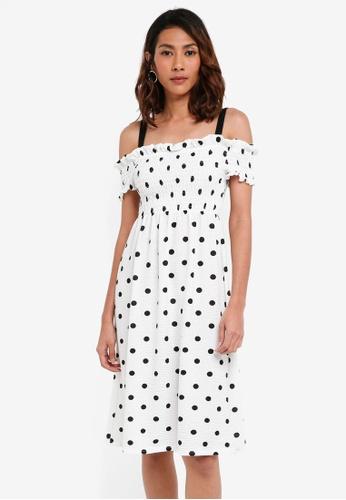TOPSHOP multi Shirred Strappy Midi Dress 61C19AAEE683BCGS_1