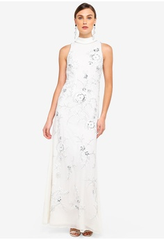 6190aa0a920 Frock and Frill white Blossom All Over Embellished Maxi Dress  47788AA6E0B982GS 1