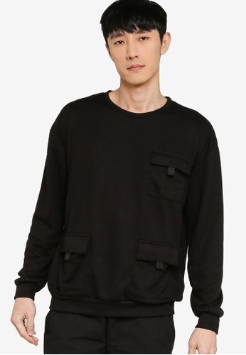ZALORA BASICS black Tri Pocket Sweatshirt 3F438AAC3EF17FGS_1