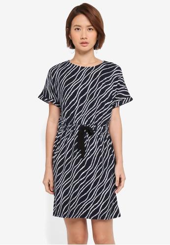 WAREHOUSE navy Wave Print Tie Waist Dress CF070AA00779FCGS_1