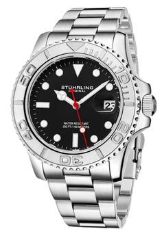 56b0a1f272c1 Stuhrling Original silver Stuhrling Original Men s Aquadiver Stainless Steel  Bracelet Watch 5939DAC22BF3D7GS 1