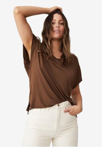 Cotton On brown Kris Short Sleeve V Neck Tee 9E549AAB45E27BGS_1