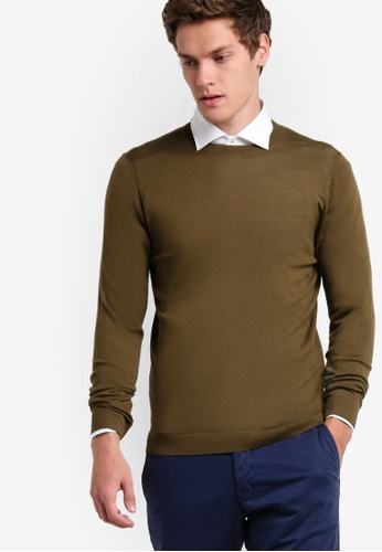 MANGO Man green Rounded Neck Wool Sweater MA449AA31AYAMY_1