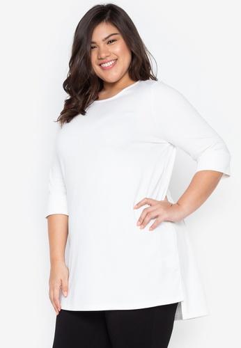 Kris Curve white Plus Size Kelsey Round Neck High Low Blouse C8900AACF32928GS_1