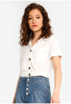 9c952dc1df Miss Selfridge white Petite Ivory Button Through Utility Shirt  42A96AA76881CAGS_1