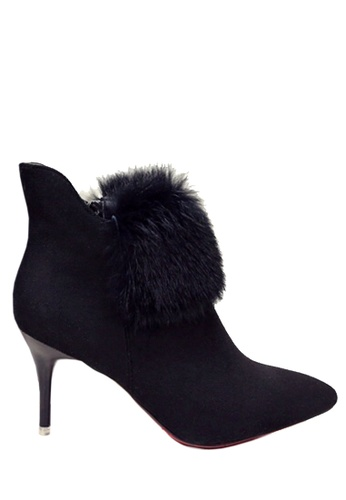 Twenty Eight Shoes black Rabbit Fur High Heels Ankle Boots VBLB001 F43CFSH0A6D526GS_1