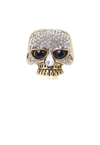 Glamorousky white Fashion Personality Plated Gold Skull Brooch with Cubic Zirconia 28FF0AC8247EBFGS_1