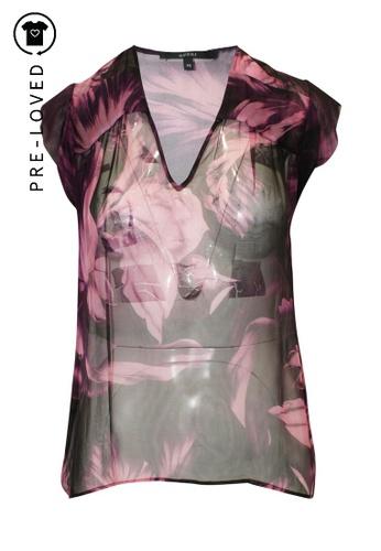 Gucci multi Pre-Loved gucci Transparent Silk Floral Print Top FFFE8AAB73D540GS_1
