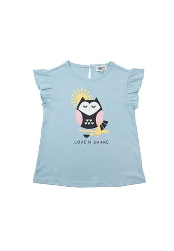 Vauva blue Vauva Girls Owl Frilling Sleeves Top - Blue 76DD0KA78D8837GS_1
