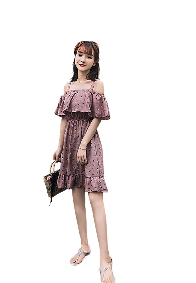 Pink 2018 Shoulder Slip One Sunnydaysweety CA062951PI Dress Off New Pink Piece SqwPw5fU