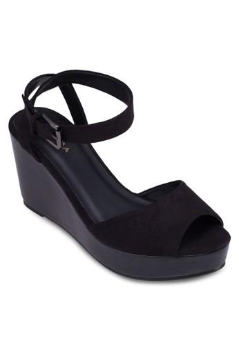 露趾厚底楔形zalora鞋子評價涼鞋, 女鞋, 魚口楔形鞋