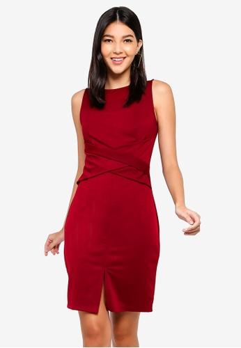 ZALORA red Ponte Bodycon Dress DF029AAE3FB59BGS_1