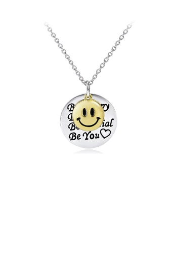 Glamorousky silver 925 Sterling Silver Fashion Simple Smile Geometric Round Pendant with Necklace 36303ACD1C1957GS_1