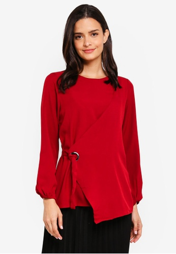 peace collections red Side Tie Blouse C13A2AA5AE61CBGS_1