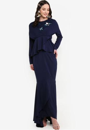 Crossover Kurung Set from Lubna in Navy