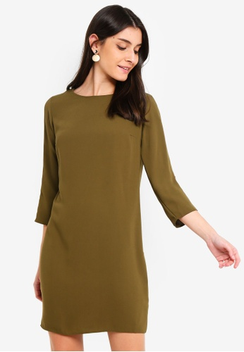 Dorothy Perkins green Khaki Horn Button Shift Dress 81603AA1043E9AGS 1 f93e8ca93