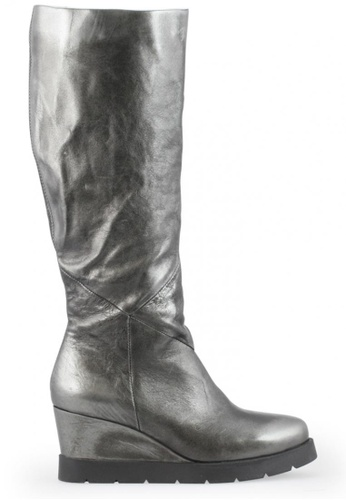 Shu Talk 銀色 型格內增高真皮皮靴 SH544SH099YFTW_1