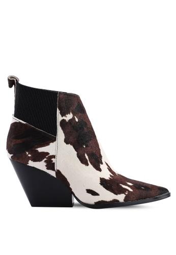 Mango 褐色 印花皮革牛仔踝靴 8FE02SH79CAEEDGS_1