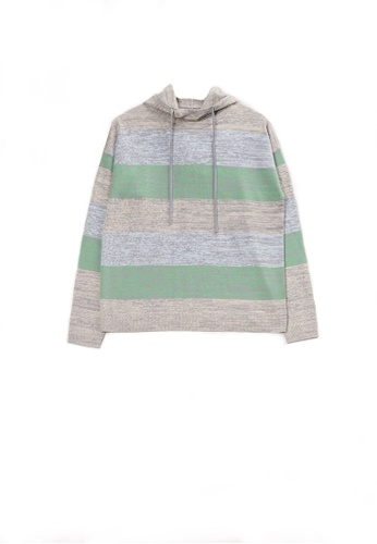KLAPS green Colourblock Stripe Hoodie E3142AAFEBBC3BGS_1