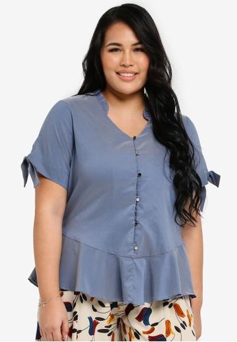 Ex'otico blue Plus Size Short Sleeve V Neck With Frilly Blouse EX373AA0SL8KMY_1