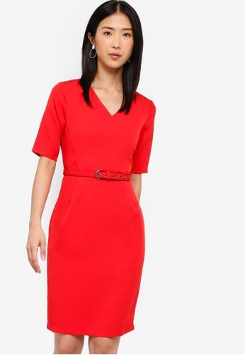 ZALORA BASICS red Basic Tailored Belted Dress E9D50AA887130FGS_1