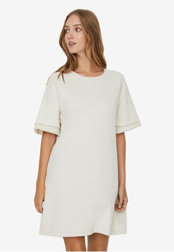 Vero Moda beige Gabbi Mini Sweat Dress 5E83CAA1FA9719GS_1