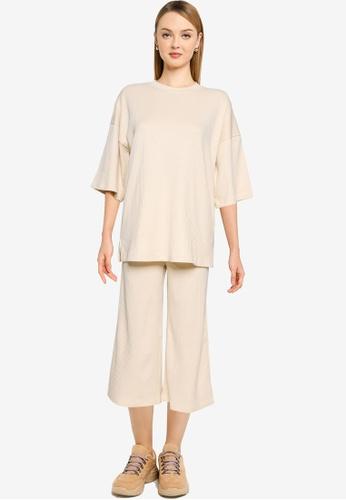 MISSGUIDED 米褐色 Coord 羅紋 T 襯衫 Culotte Set 7212BAA80F451BGS_1