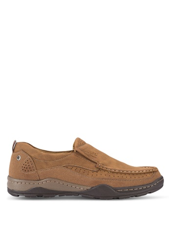 Louis Cuppers brown Stitch Detail Loafers LO977SH18AXPMY_1