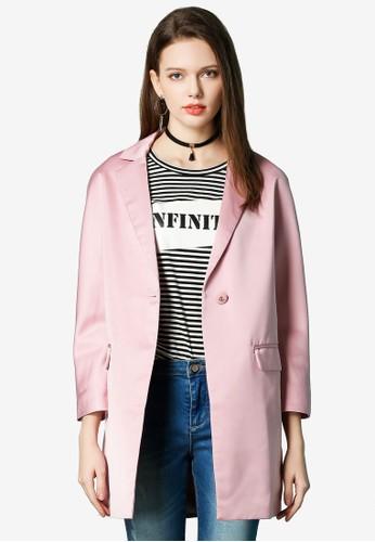 Hopeshow pink Capri Sleeve One Button Blazer 1FFAEAA8AEC0A2GS_1