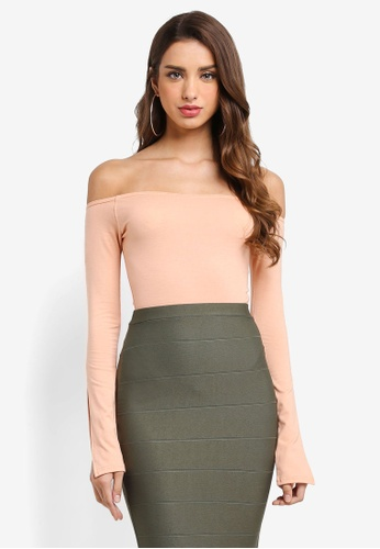 MISSGUIDED beige Split Sleeve Bardot Top 1561EAAB4CEF35GS_1