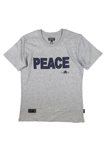 L.I.M.I.T.E grey Regular fit Emb. Patch With PrintedT-Shirt LI425AA0FCK6SG_1