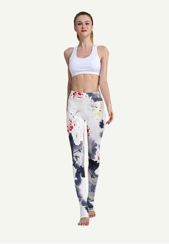 B-Code white ZYG5023C-Lady Quick Drying Running Fitness Yoga Sports Leggings-White 96F72AADAF337AGS_1
