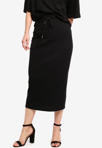 ZALORA BASICS black Basic Knitting Midi Skirt 53133AA9B75183GS_1