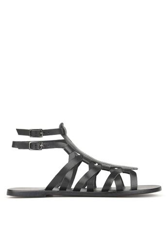Betts black Troy Leather Gladiator Sandals CB608SH8AA26CFGS_1