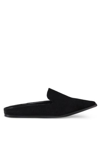 Something Borrowed black Velvet Embossed Slip On Flats 6298ESH102607AGS_1