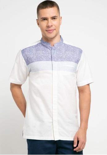 Introspect clothing white and navy Kemeja Koko CC94FAA6FF4A38GS_1