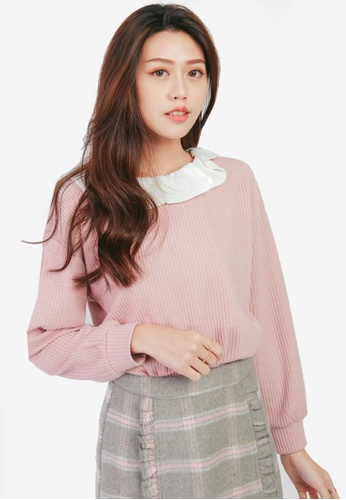 Yoco pink Ribbed Pullover 27474AA9200D5CGS_1
